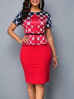 Round Collar Printed Short Sleeve Bodycon Dress