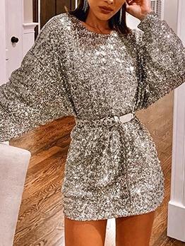 Crew Neck Silvery Long Sleeve Sequin Dress