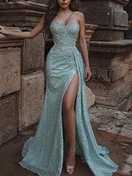Sexy High Split Hem Blue Strapless Evening Dress