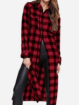 Euro Single-Breasted Plaid Long Sleeve Maxi Dress Casual