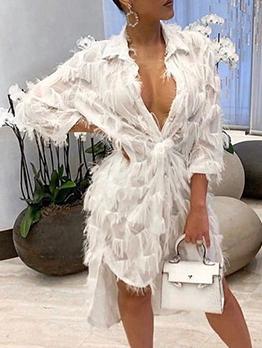 Loose Solid Plush Fur Dresses For Women