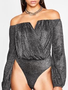 Glitter Ruched Off The Shoulder Bodysuit