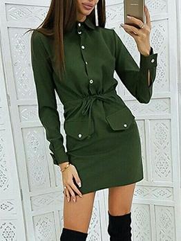Single-Breasted Drawstring Long Sleeve Shirt Dress