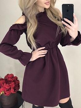 Cold Shoulder Smart Waist Long Sleeve A-Line Dress