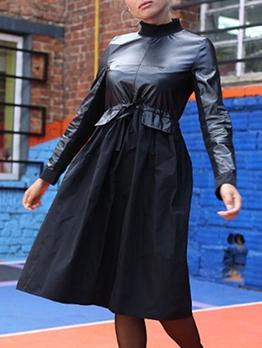 Mock Neck Smart Waist Black Long Sleeve Pu Dress