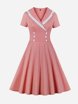 Lapel Collar Fitted Large Hem Short Sleeve Dress