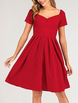V Neck Short Sleeve Red A-Line Dress For Women