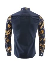 Fashion Print Patchwork Button Down Shirt