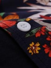 Botanic Print Men Long Sleeve Shirts