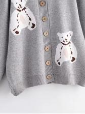 Bear Printed Bottom Up Cardigans For Women