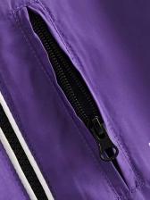 Cashmere Letter Printed Purple Short Coat