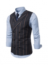 Double-Breasted Striped Waistcoat Mens Vest