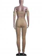 Solid Off Shoulder Crop Top And Pants Set