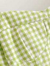 Square Neck Long Sleeve Plaid Crop Blouse