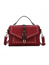 Rivets Decorated Ladies Shoulder Bags With Handle