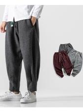 Retro Solid Loose Woolen Mens Pants