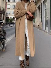 Pure Color Knit Long Cardigan