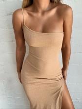 Sexy Slit Solid Knit Maxi Dresses