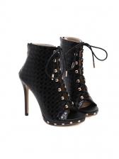Rivet Bandage Peep Toe Black Boots