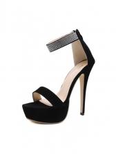 Tiny Rhinestones Stiletto Platform Sandals