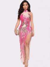 Off The Shoulder High Split Glitter Sequins Two Piece Dresses