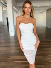 Gauze Patchwork Women White Strapless Dress