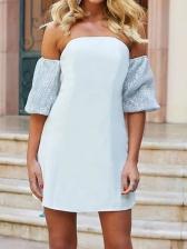 Sequin Patchwork Short Sleeve Party Dresses