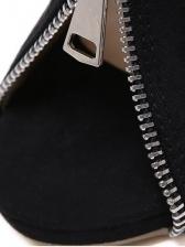 Zipper Decor Peep Toe Black Open Vamp Bootie