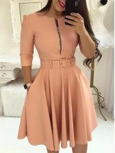 Pure Color Front Zipper Pleated Hem A Line Dress
