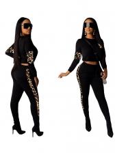 Fashion Leopard Panel Crop Top And Pants Set