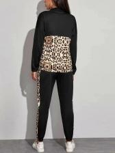 Leopard Panel Casual Two Piece Pants Set