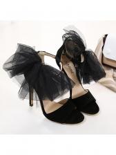 Lace Bow Decor Heel Sandal