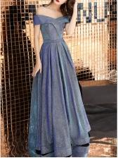 Off The Shoulder Fitted Large Hem Long Formal Dress