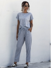 Solid Short Sleeve Casual Two Piece Pants Set