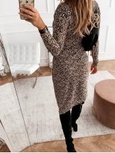 V Neck Irregular Hem Leopard Long Sleeve Dress