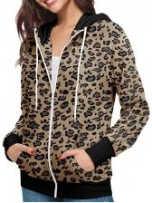 Long Sleeve Leopard Panel Zip Up Hoodies