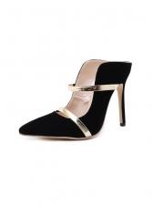 Irregular Metal Strap Patchwork High Heel Shoes