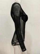 Sexy Gauze See Through Long Sleeve Bodysuit