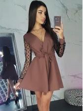 V Neck Gauze Polka Dots Long Sleeve Mini Dress