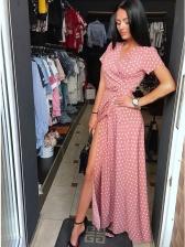Fashion V Neck Polka Dot Short Sleeve Maxi Dress