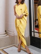 Inclined Shoulder Split Hem Irregular Long Maxi Dress