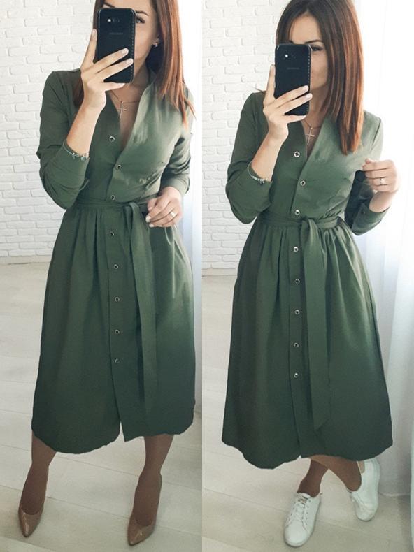 Single-Breasted V Neck Tie-Wrap Long Sleeve Maxi Dress
