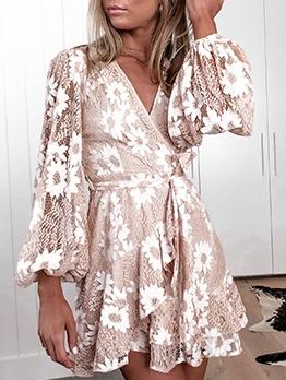 Flowers Pattern Tie-Wrap Lantern Sleeve Lace Dress