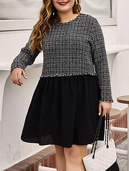 Plus Size Contrast Color Long Sleeve Dress