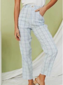 Fashion Ninth Long Plaid Pants