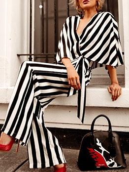 Striped Tie Hem Crop Top And Pants Set