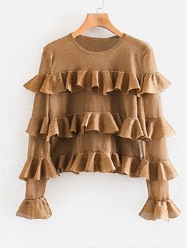 Glitter Ruffled Long Sleeve Fashion Blouse