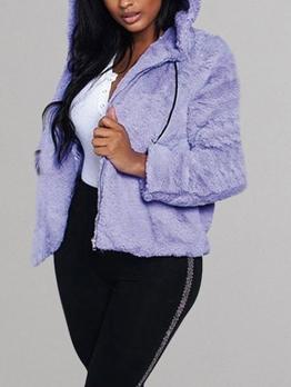 Solid Hooded Zipper Up Fleece Jacket
