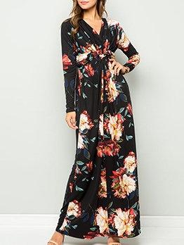 V Neck Flower Print Long Sleeve Boho Maxi Dress