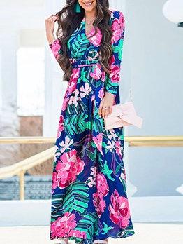 Casual V Neck Tie-wrap Print Long Sleeve Maxi Dress